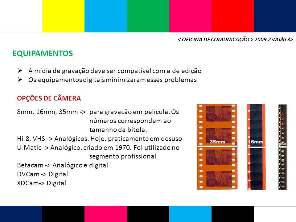 EQUIPAMENTOS 2009.2 A mídia de gravação deve ser compatível com a de edição Os equipamentos digitais minimizaram esses problemas OPÇÕES DE CÂMERA 8mm, 16mm, 35mm -> para gravação em película.
