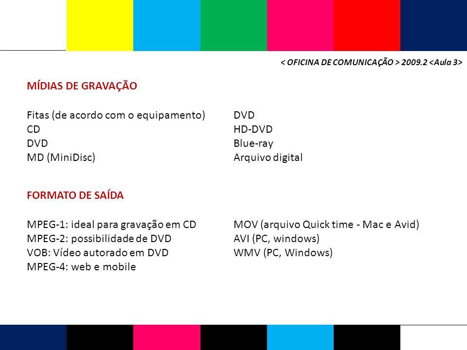 2009.2 MÍDIAS DE GRAVAÇÃO Fitas (de acordo com o equipamento) CD DVD MD (MiniDisc) DVD HD-DVD Blue-ray Arquivo digital FORMATO DE SAÍDA MPEG-1: ideal para gravação em CD MPEG-2: possibilidade de DVD VOB: Vídeo autorado em DVD MPEG-4: web e mobile MOV (arquivo Quick time - Mac e Avid) AVI (PC, windows) WMV (PC, Windows)