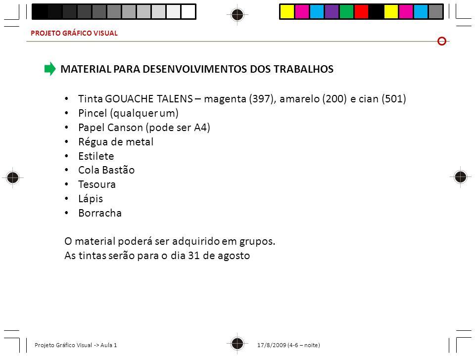 PROJETO GRÁFICO VISUAL Projeto Gráfico Visual -> Aula 1 17/8/2009 (4-6 – noite) MATERIAL PARA DESENVOLVIMENTOS DOS TRABALHOS Tinta GOUACHE TALENS – ma