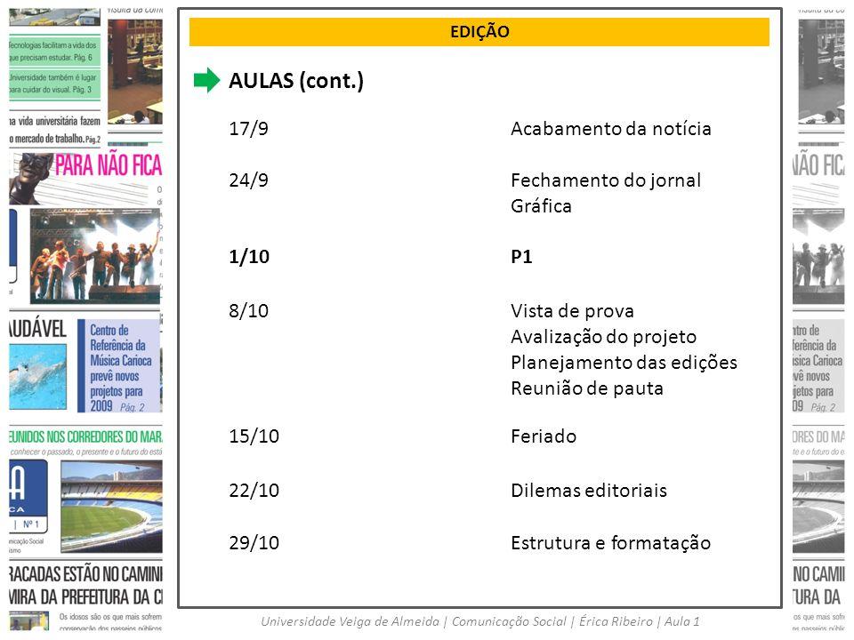 EDIÇÃO Universidade Veiga de Almeida | Comunicação Social | Érica Ribeiro | Aula 1 AULAS (cont.) 17/9Acabamento da notícia 24/9Fechamento do jornal Gr