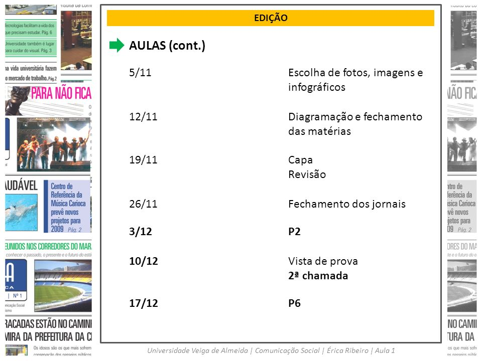EDIÇÃO Universidade Veiga de Almeida | Comunicação Social | Érica Ribeiro | Aula 1 AULAS (cont.) 5/11Escolha de fotos, imagens e infográficos 12/11Dia
