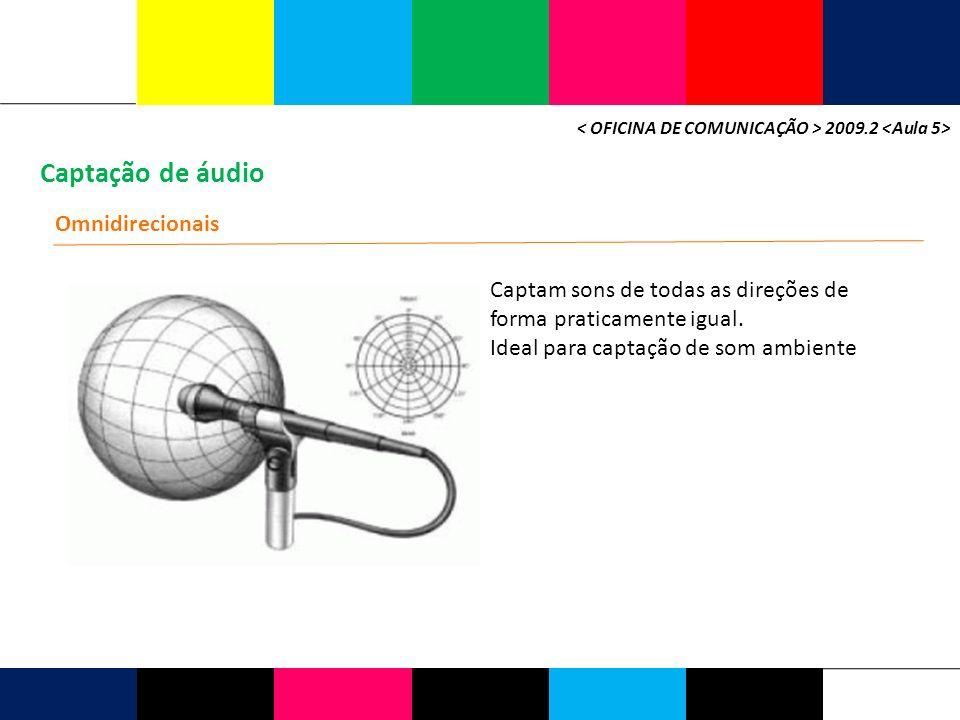 Captação de áudio 2009.2 Omnidirecionais Captam sons de todas as direções de forma praticamente igual. Ideal para captação de som ambiente