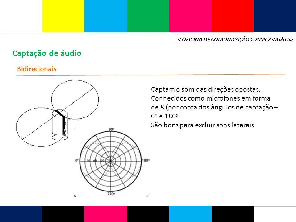 Captação de áudio 2009.2 Bidirecionais Captam o som das direções opostas. Conhecidos como microfones em forma de 8 (por conta dos ângulos de captação