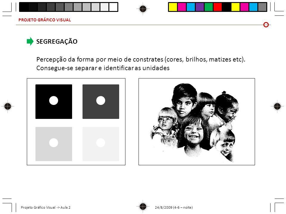 PROJETO GRÁFICO VISUAL Projeto Gráfico Visual -> Aula 2 24/8/2009 (4-6 – noite) SEGREGAÇÃO Percepção da forma por meio de constrates (cores, brilhos,