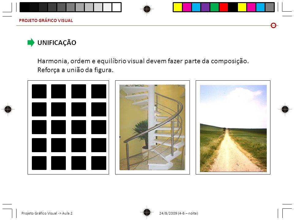 PROJETO GRÁFICO VISUAL Projeto Gráfico Visual -> Aula 2 24/8/2009 (4-6 – noite) UNIFICAÇÃO Harmonia, ordem e equilíbrio visual devem fazer parte da co