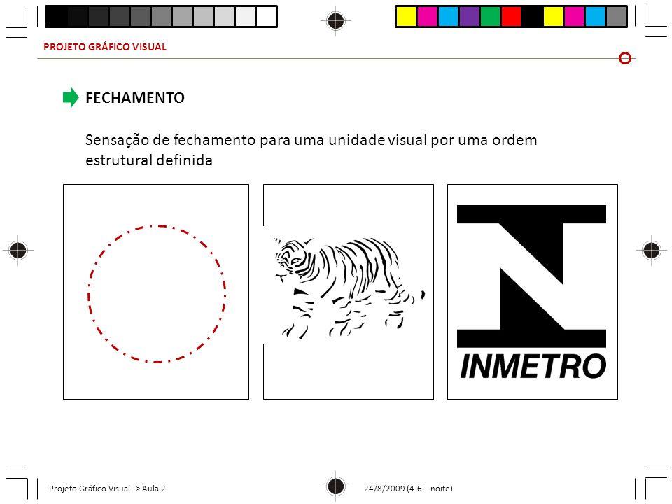 PROJETO GRÁFICO VISUAL Projeto Gráfico Visual -> Aula 2 24/8/2009 (4-6 – noite) FECHAMENTO Sensação de fechamento para uma unidade visual por uma orde