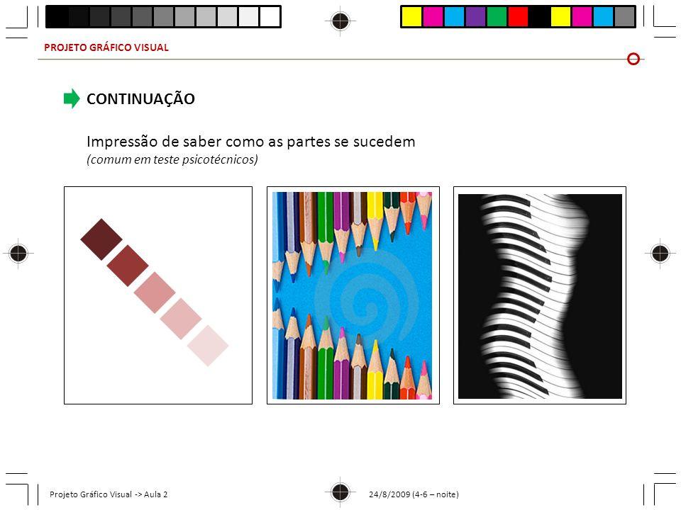 PROJETO GRÁFICO VISUAL Projeto Gráfico Visual -> Aula 2 24/8/2009 (4-6 – noite) CONTINUAÇÃO Impressão de saber como as partes se sucedem (comum em tes