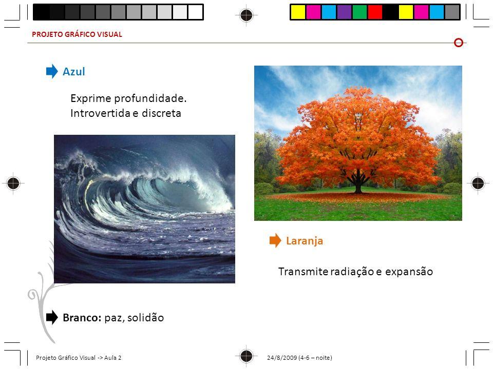 PROJETO GRÁFICO VISUAL Projeto Gráfico Visual -> Aula 2 24/8/2009 (4-6 – noite) Azul Exprime profundidade. Introvertida e discreta Laranja Transmite r