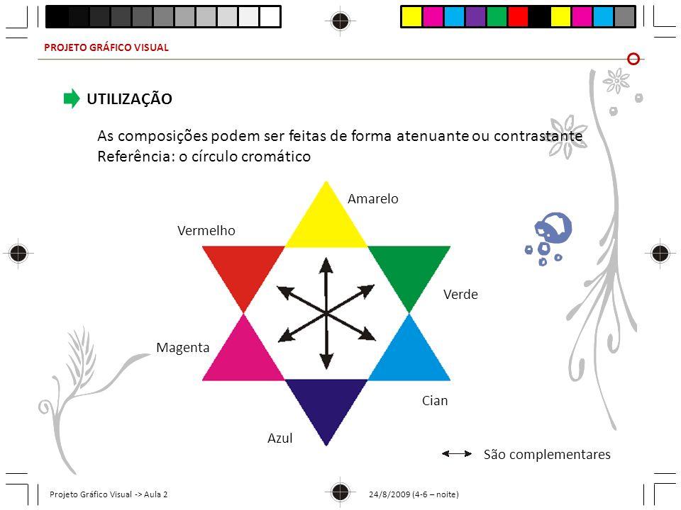 PROJETO GRÁFICO VISUAL Projeto Gráfico Visual -> Aula 2 24/8/2009 (4-6 – noite) As composições podem ser feitas de forma atenuante ou contrastante Ref