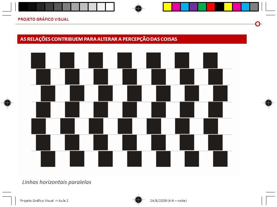 PROJETO GRÁFICO VISUAL Projeto Gráfico Visual -> Aula 2 24/8/2009 (4-6 – noite) Linhas horizontais paralelas AS RELAÇÕES CONTRIBUEM PARA ALTERAR A PER