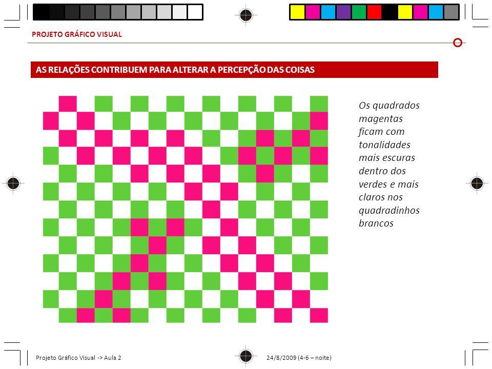 PROJETO GRÁFICO VISUAL Projeto Gráfico Visual -> Aula 2 24/8/2009 (4-6 – noite) Os quadrados magentas ficam com tonalidades mais escuras dentro dos ve