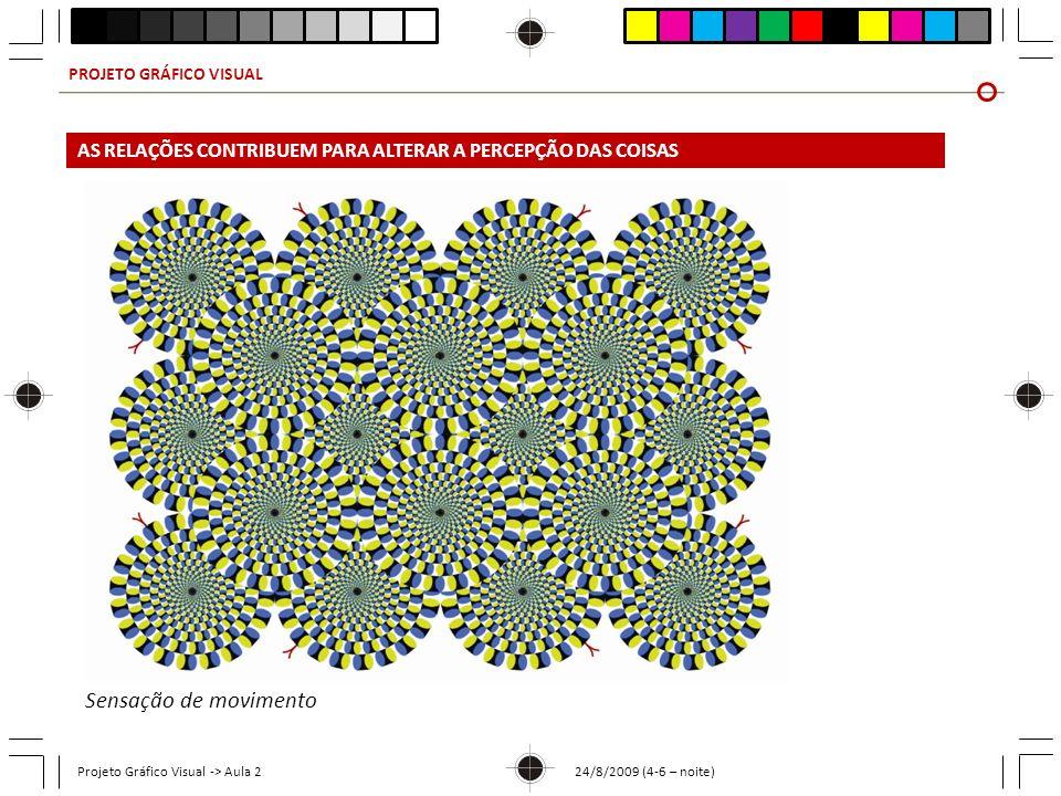 PROJETO GRÁFICO VISUAL Projeto Gráfico Visual -> Aula 2 24/8/2009 (4-6 – noite) Sensação de movimento AS RELAÇÕES CONTRIBUEM PARA ALTERAR A PERCEPÇÃO