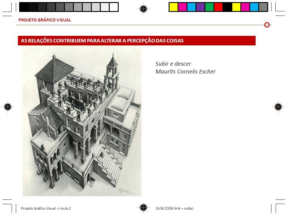 PROJETO GRÁFICO VISUAL Projeto Gráfico Visual -> Aula 2 24/8/2009 (4-6 – noite) Subir e descer Maurits Cornelis Escher AS RELAÇÕES CONTRIBUEM PARA ALT