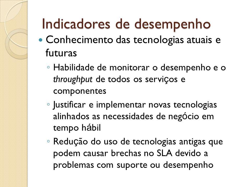 Indicadores de desempenho Conhecimento das tecnologias atuais e futuras Habilidade de monitorar o desempenho e o throughput de todos os servi ç os e c