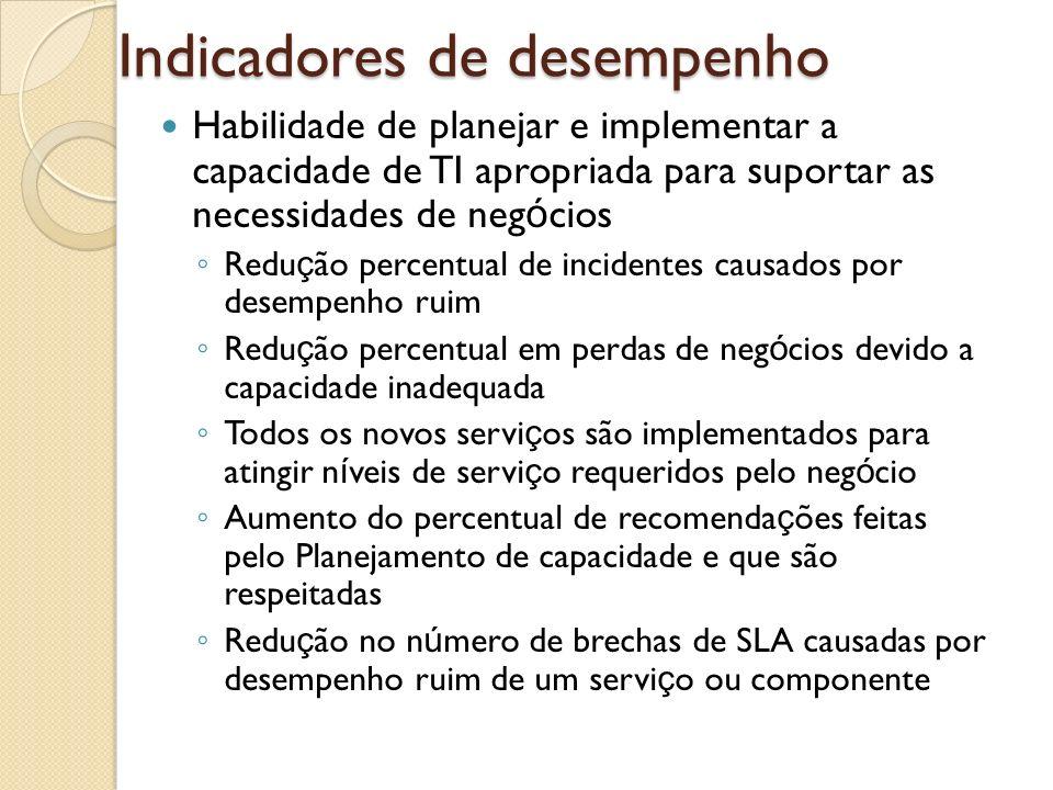 Indicadores de desempenho Habilidade de planejar e implementar a capacidade de TI apropriada para suportar as necessidades de neg ó cios Redu ç ão per