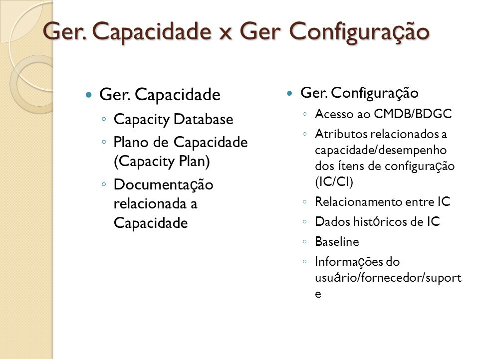 Ger. Capacidade x Ger Configura ç ão Ger. Capacidade Capacity Database Plano de Capacidade (Capacity Plan) Documenta ç ão relacionada a Capacidade Ger