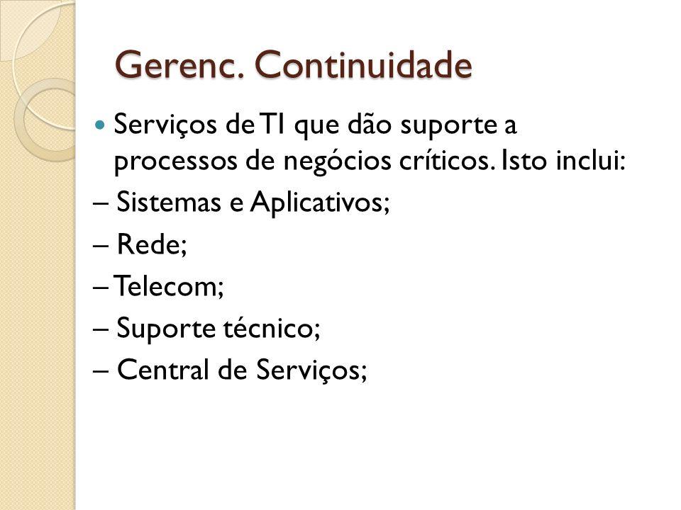 Gerenc. Continuidade Serviços de TI que dão suporte a processos de negócios críticos. Isto inclui: – Sistemas e Aplicativos; – Rede; – Telecom; – Supo