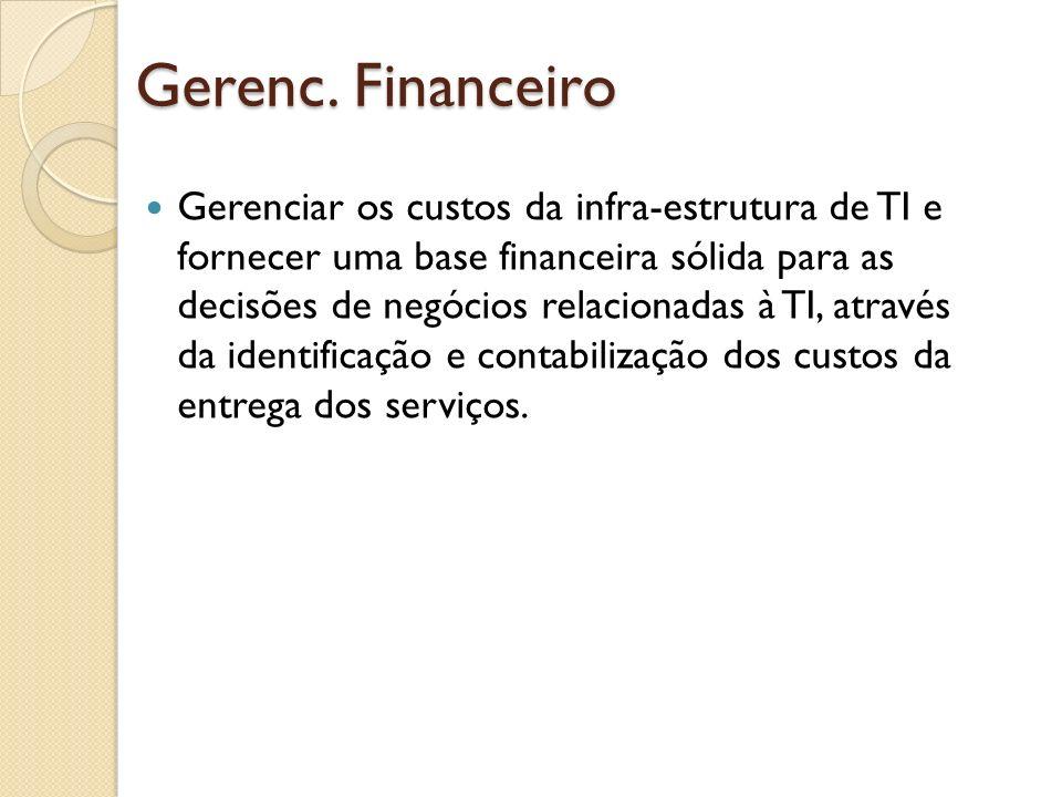 Gerenc. Financeiro Gerenciar os custos da infra-estrutura de TI e fornecer uma base financeira sólida para as decisões de negócios relacionadas à TI,