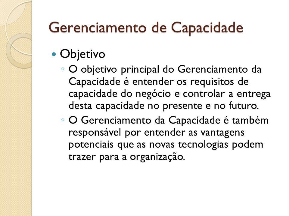 Gerenciamento de Capacidade Objetivo O objetivo principal do Gerenciamento da Capacidade é entender os requisitos de capacidade do negócio e controlar