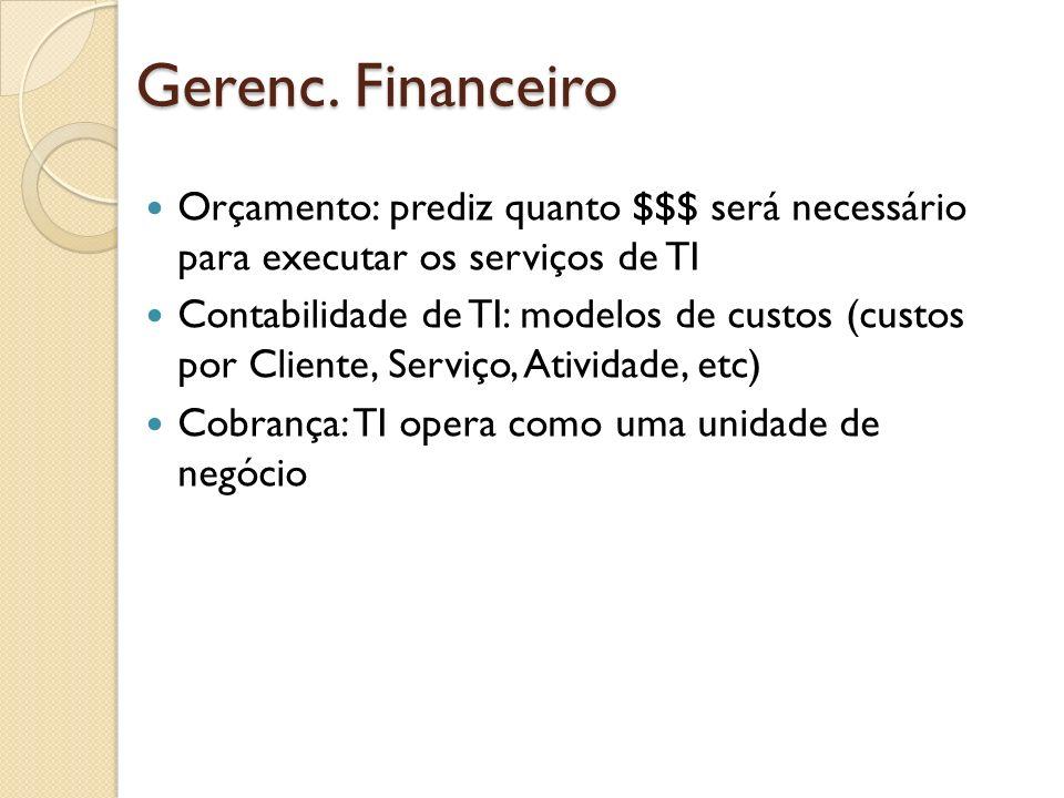 Gerenc. Financeiro Orçamento: prediz quanto $$$ será necessário para executar os serviços de TI Contabilidade de TI: modelos de custos (custos por Cli