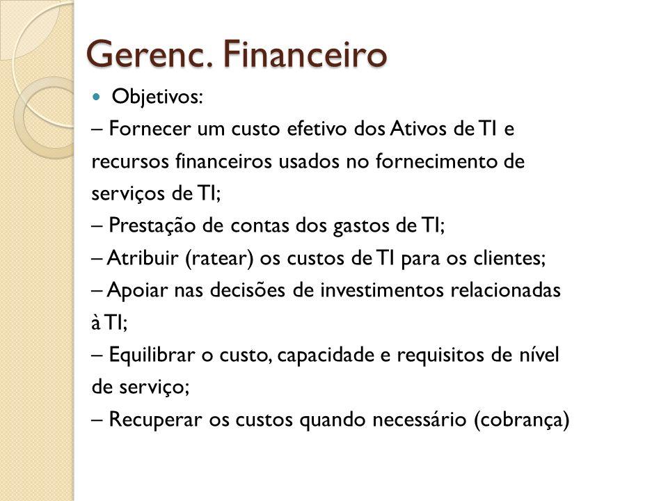 Gerenc. Financeiro Objetivos: – Fornecer um custo efetivo dos Ativos de TI e recursos financeiros usados no fornecimento de serviços de TI; – Prestaçã
