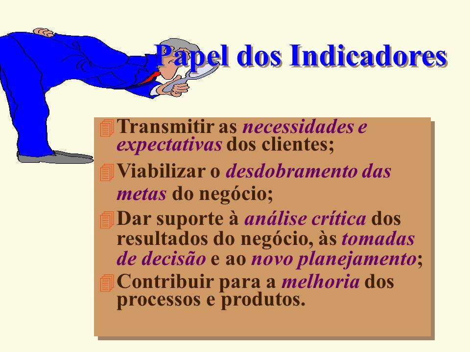 Indicadores Dados ou informações preferencialmente numéricos (índice) que representam avanços de metas, características de produtos, projetos e proces