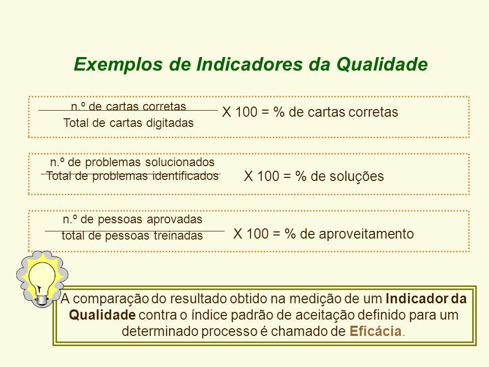 Indicadores da Qualidade ou Indicadores da Satisfação dos Clientes Medem como o produto ou serviço é percebido pelo cliente e a capacidade do processo