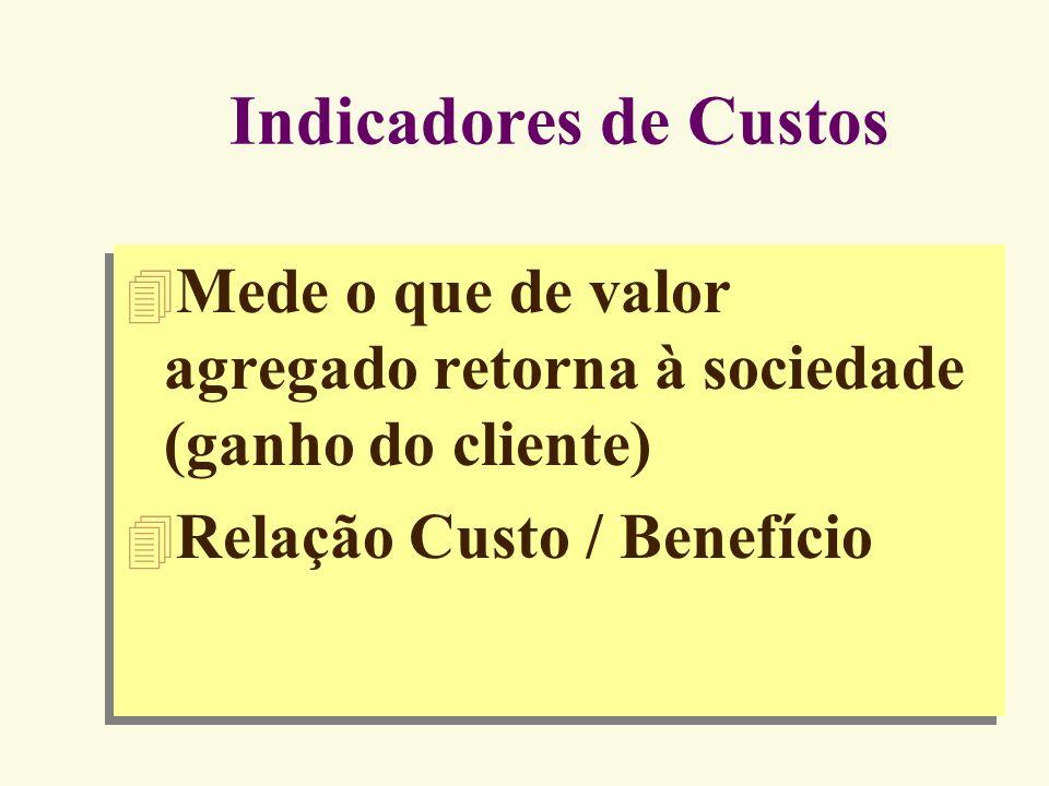 Exemplos de Indicadores da Qualidade INDICADORES DA NÃO-QUALIDADE X 100 = % de atendimentos com atraso X 100 = % de produtos defeituosos X 100 = % de