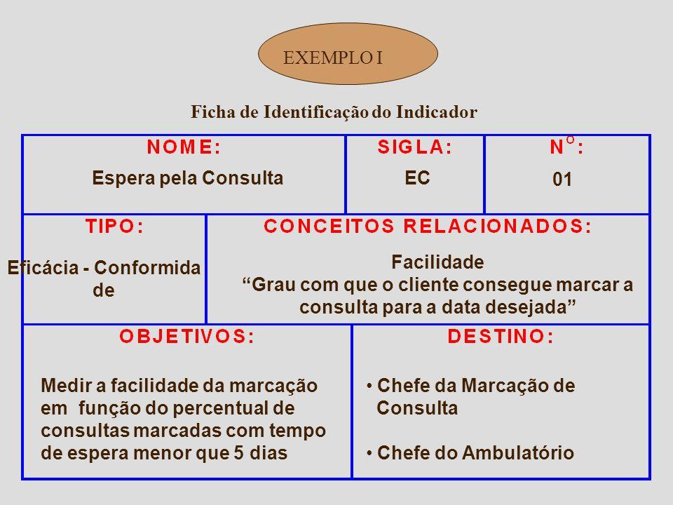 Ficha de Identificação do Indicador EXEMPLO O Nome deve identificar claramente o indicador Criar sigla para o indicador Dar um número de identificação