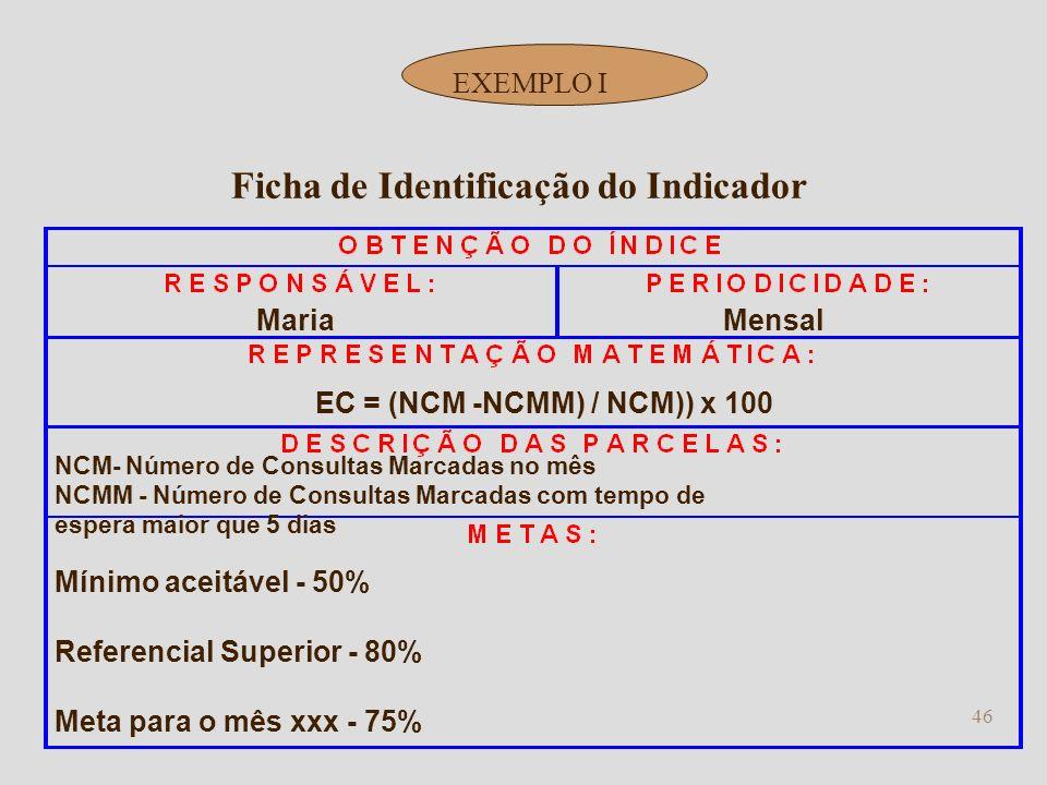 45 Mínimo aceitável - 50% Referencial Superior - 80% Meta para o mês xxx - 75% Ficha de Identificação do Indicador EXEMPLO Identificar a pessoa respon