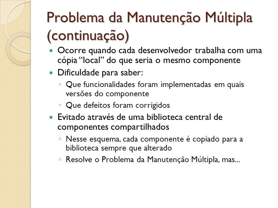 Problema da Manutenção Múltipla (continuação) Ocorre quando cada desenvolvedor trabalha com uma cópia local do que seria o mesmo componente Dificuldad