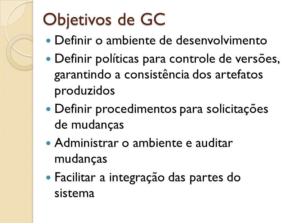 Objetivos de GC Definir o ambiente de desenvolvimento Definir políticas para controle de versões, garantindo a consistência dos artefatos produzidos D