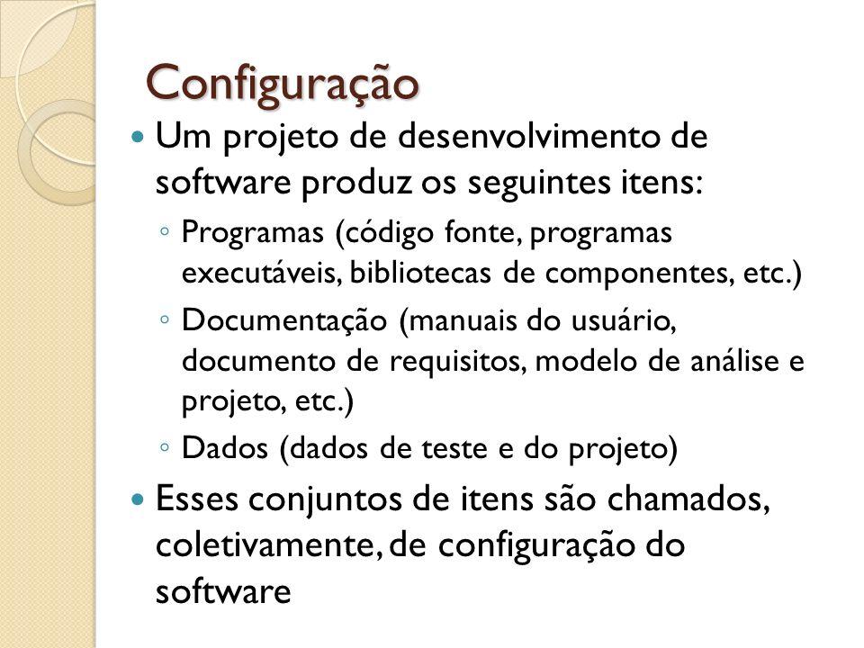 Configuração Um projeto de desenvolvimento de software produz os seguintes itens: Programas (código fonte, programas executáveis, bibliotecas de compo