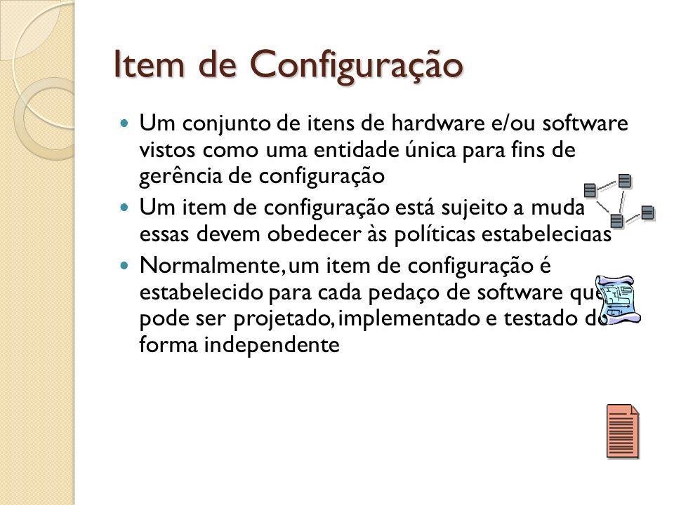 Item de Configuração Um conjunto de itens de hardware e/ou software vistos como uma entidade única para fins de gerência de configuração Um item de co