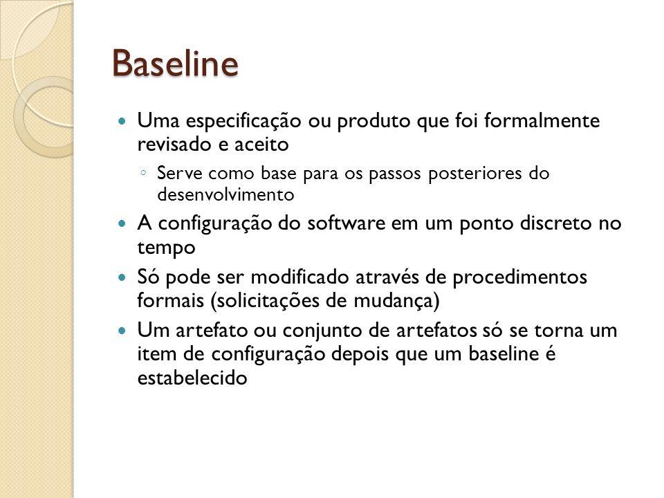 Baseline Uma especificação ou produto que foi formalmente revisado e aceito Serve como base para os passos posteriores do desenvolvimento A configuraç