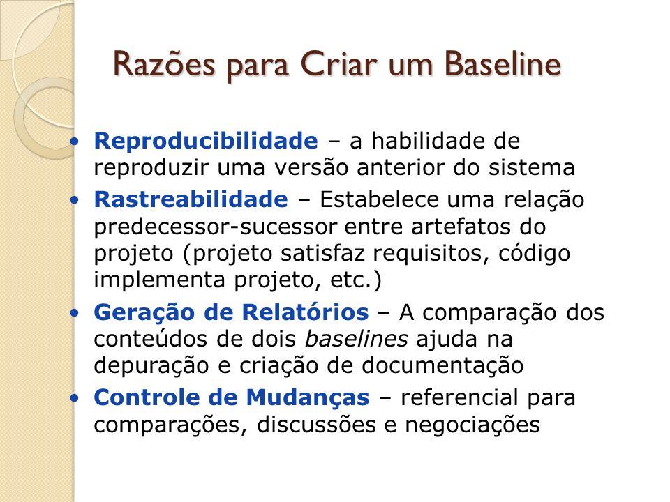 Razões para Criar um Baseline Reproducibilidade – a habilidade de reproduzir uma versão anterior do sistema Rastreabilidade – Estabelece uma relação p