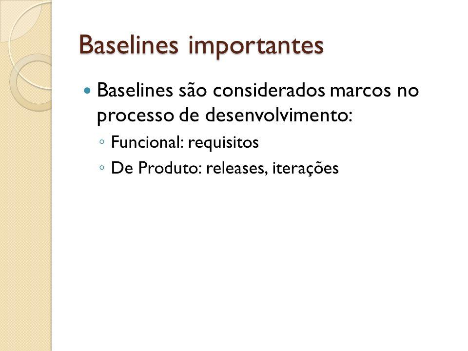 Baselines importantes Baselines são considerados marcos no processo de desenvolvimento: Funcional: requisitos De Produto: releases, iterações