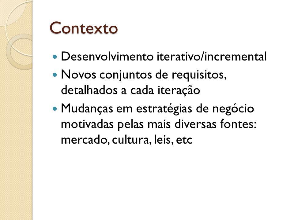 Contexto Desenvolvimento iterativo/incremental Novos conjuntos de requisitos, detalhados a cada iteração Mudanças em estratégias de negócio motivadas