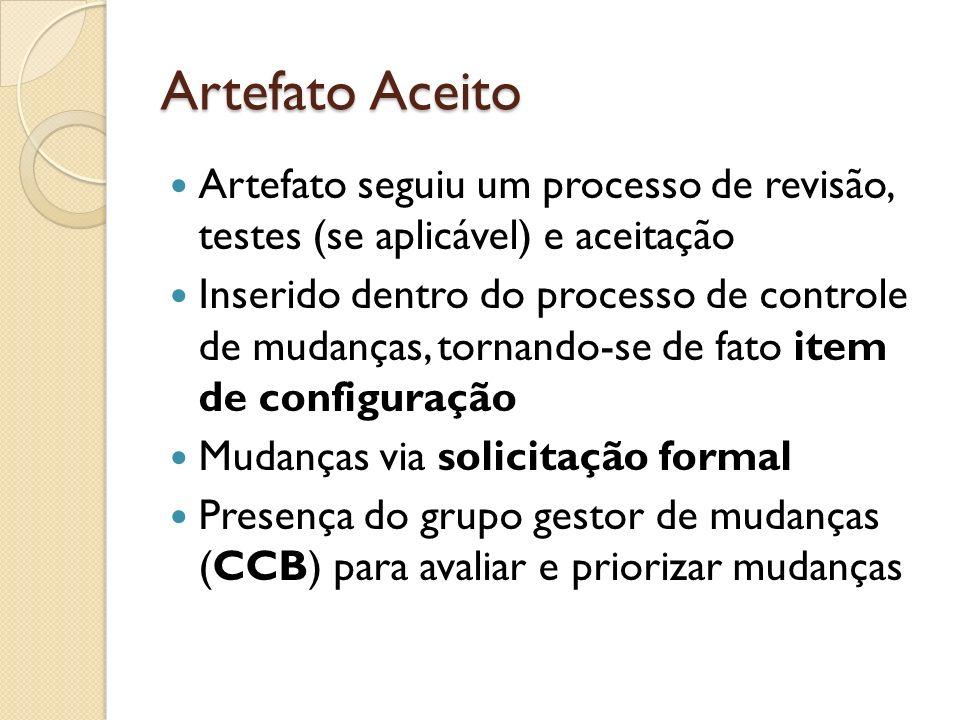 Artefato Aceito Artefato seguiu um processo de revisão, testes (se aplicável) e aceitação Inserido dentro do processo de controle de mudanças, tornand