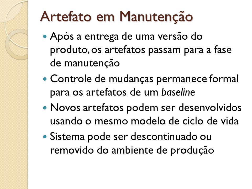 Artefato em Manutenção Após a entrega de uma versão do produto, os artefatos passam para a fase de manutenção Controle de mudanças permanece formal pa