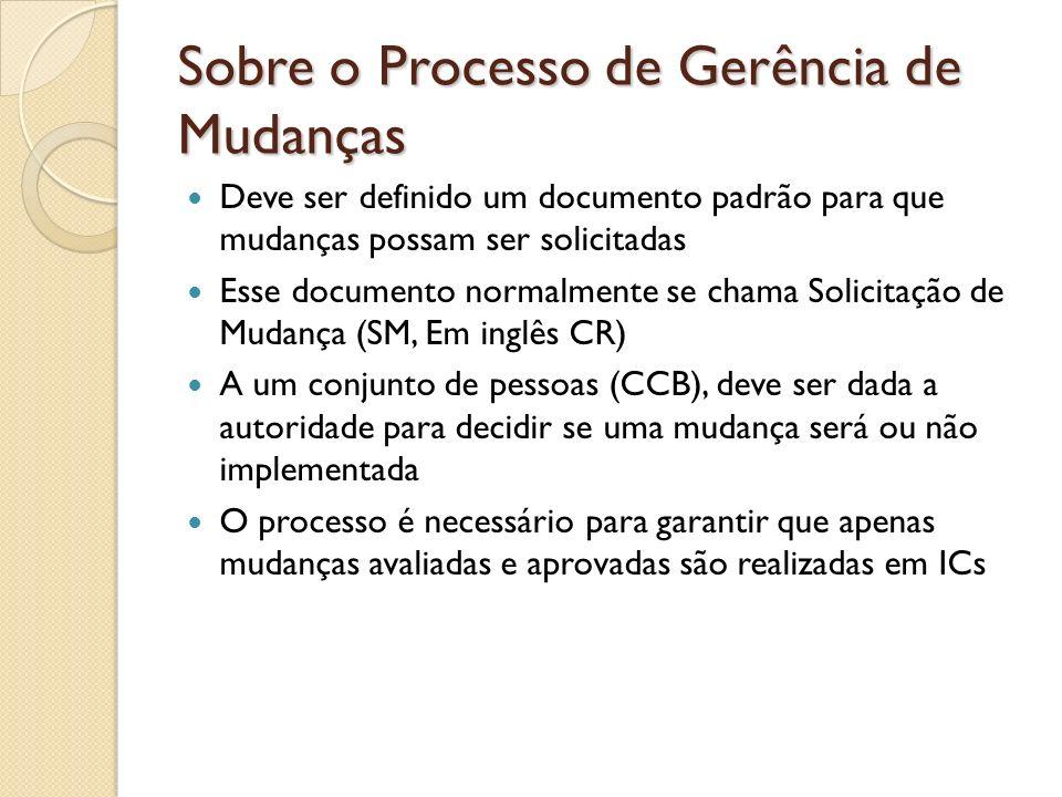 Sobre o Processo de Gerência de Mudanças Deve ser definido um documento padrão para que mudanças possam ser solicitadas Esse documento normalmente se