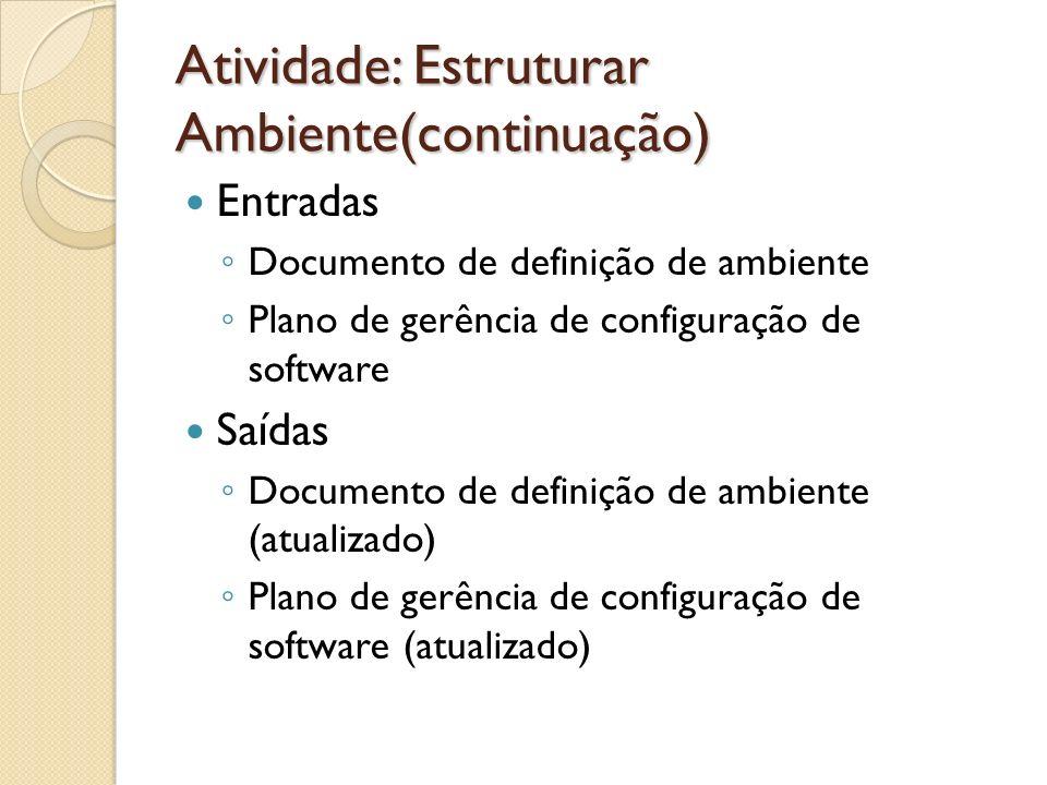 Atividade: Estruturar Ambiente(continuação) Entradas Documento de definição de ambiente Plano de gerência de configuração de software Saídas Documento