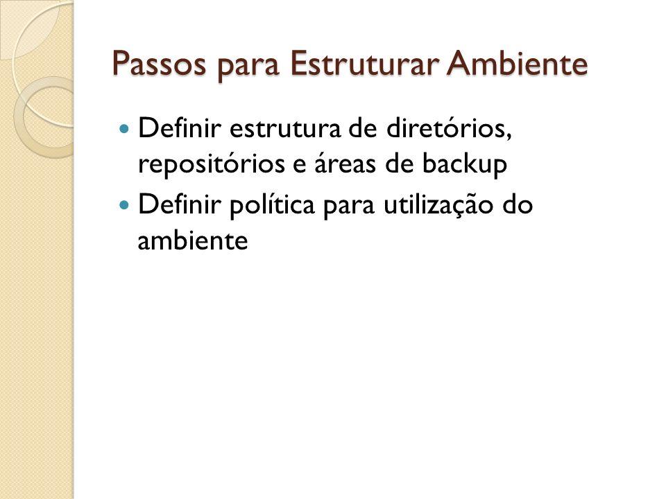 Passos para Estruturar Ambiente Definir estrutura de diretórios, repositórios e áreas de backup Definir política para utilização do ambiente