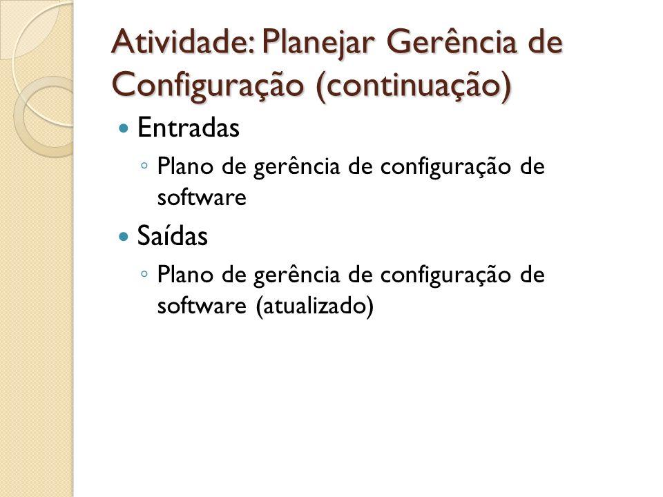 Atividade: Planejar Gerência de Configuração (continuação) Entradas Plano de gerência de configuração de software Saídas Plano de gerência de configur