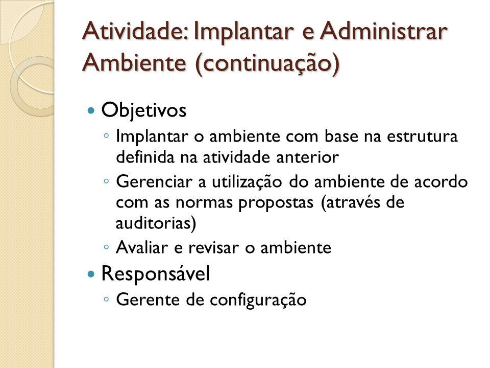 Atividade: Implantar e Administrar Ambiente (continuação) Objetivos Implantar o ambiente com base na estrutura definida na atividade anterior Gerencia