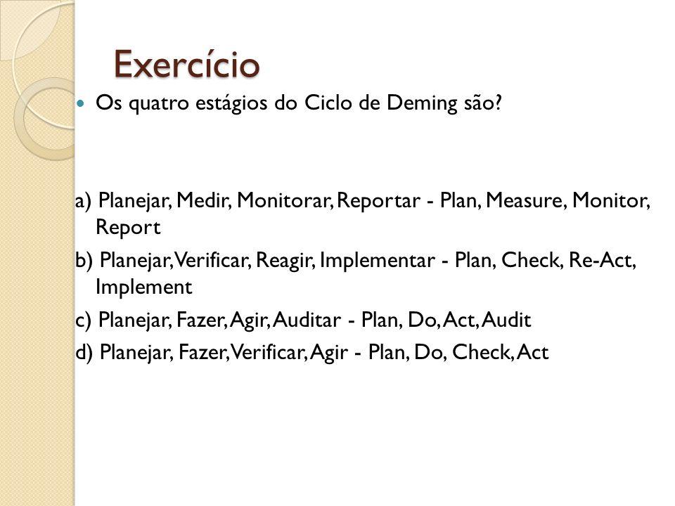 Exercício Os quatro estágios do Ciclo de Deming são? a) Planejar, Medir, Monitorar, Reportar - Plan, Measure, Monitor, Report b) Planejar, Verificar,