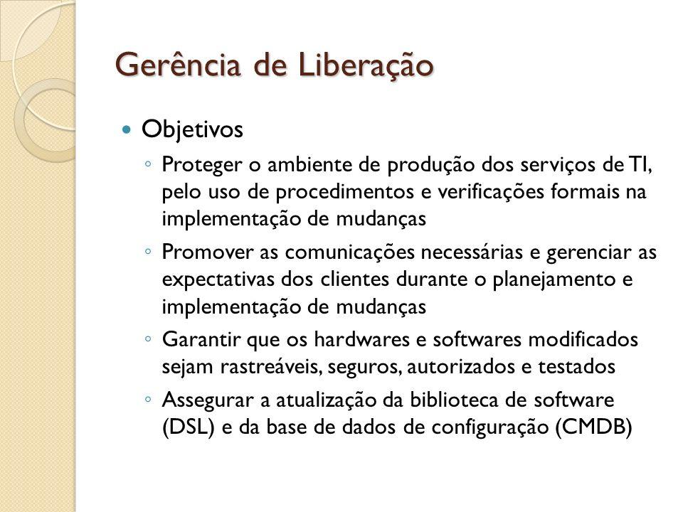 Gerência de Liberação Objetivos Proteger o ambiente de produção dos serviços de TI, pelo uso de procedimentos e verificações formais na implementação