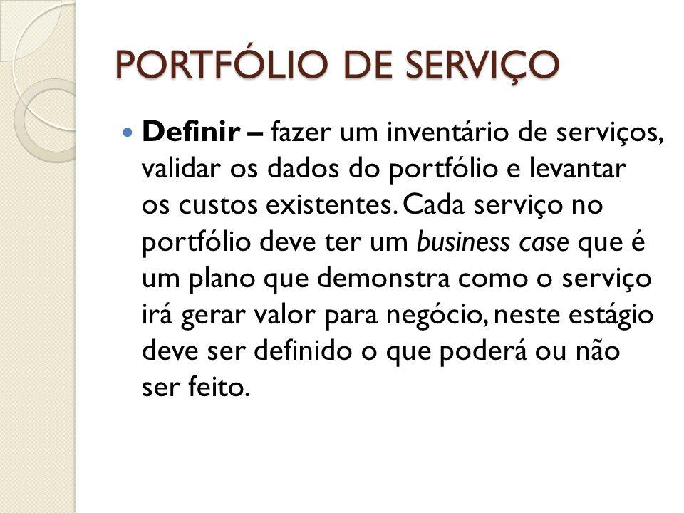 PORTFÓLIO DE SERVIÇO Definir – fazer um inventário de serviços, validar os dados do portfólio e levantar os custos existentes. Cada serviço no portfól