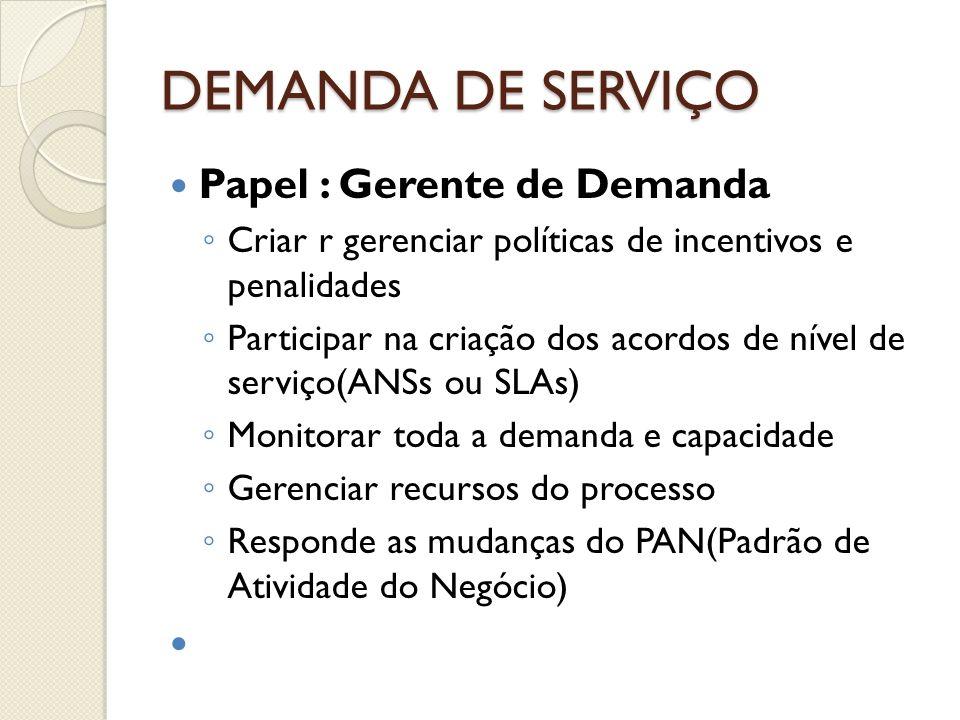 DEMANDA DE SERVIÇO Papel : Gerente de Demanda Criar r gerenciar políticas de incentivos e penalidades Participar na criação dos acordos de nível de se