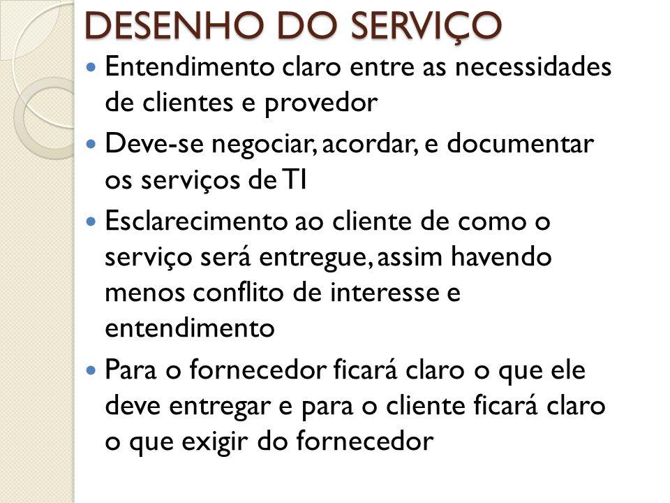Entendimento claro entre as necessidades de clientes e provedor Deve-se negociar, acordar, e documentar os serviços de TI Esclarecimento ao cliente de